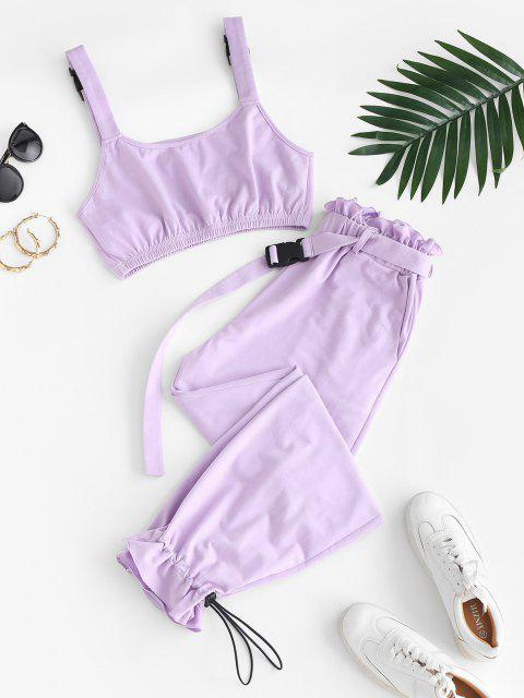 trendy ZAFUL Buckle Strap Crop Top and Drawstring Paperbag Pants Set - MAUVE XL Mobile