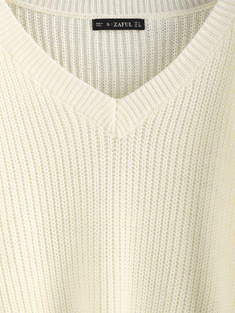 online ZAFUL V Neck Lantern Sleeve Jumper Sweater - WHITE S Mobile