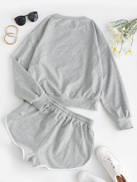 women's ZAFUL Butterfly Print Sweatshirt and Mini Dolphin Shorts Set - LIGHT GRAY XL Mobile