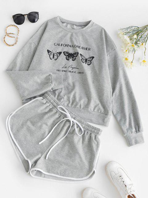 lady ZAFUL Butterfly Print Sweatshirt and Mini Dolphin Shorts Set - LIGHT GRAY L Mobile