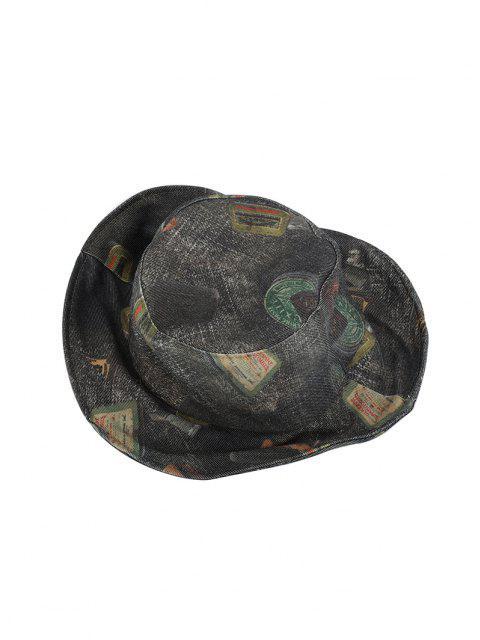 Cappello da Pescatore a Secchio in Denim con Stampa a Secchio - Multi Colori-C  Mobile