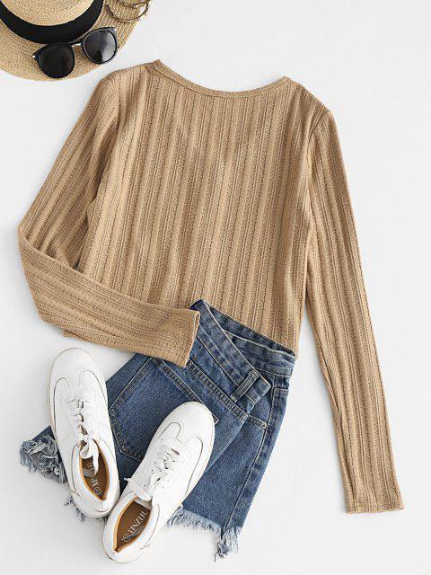 women ZAFUL Button Up V Neck Cropped Cardigan - TAN XL Mobile