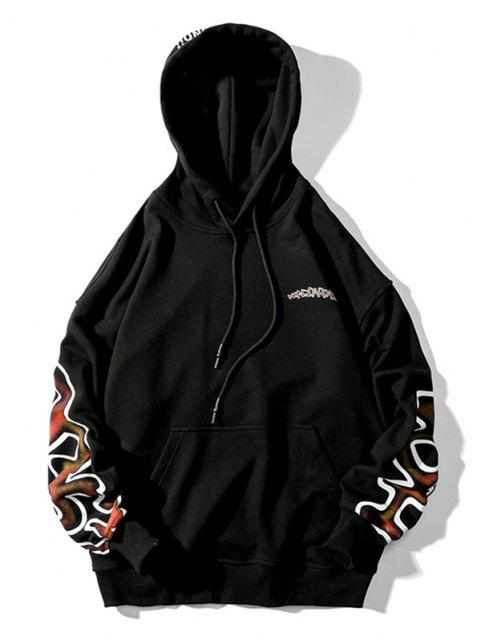 shop Letter Graphic Drawstring Drop Shoulder Hoodie - BLACK M Mobile
