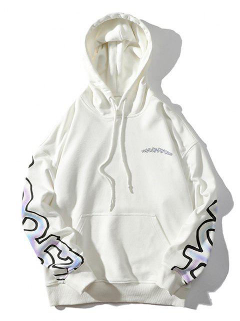 buy Letter Graphic Drawstring Drop Shoulder Hoodie - WHITE 2XL Mobile