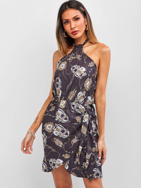 best Baroque Chain Print Halter Backless Mini Asymmetrical Dress - BLACK S Mobile