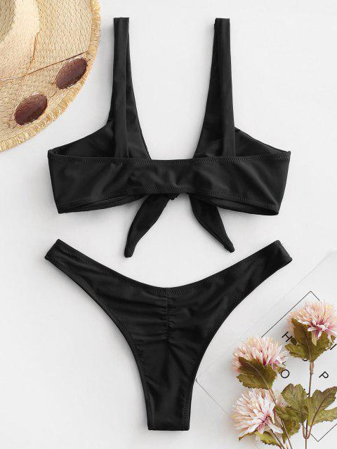 outfit Scrunch Butt Knotted Thong Bikini - BLACK M Mobile
