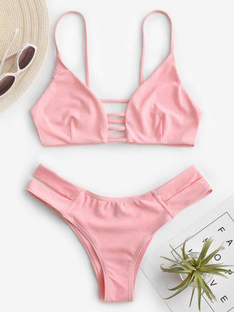 sale Caged Bandage Bikini Swimwear - SHALLOW PINK XL Mobile