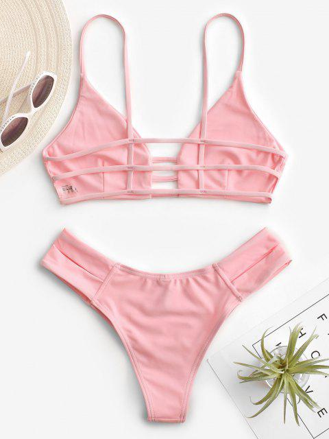 affordable Caged Bandage Bikini Swimwear - SHALLOW PINK L Mobile
