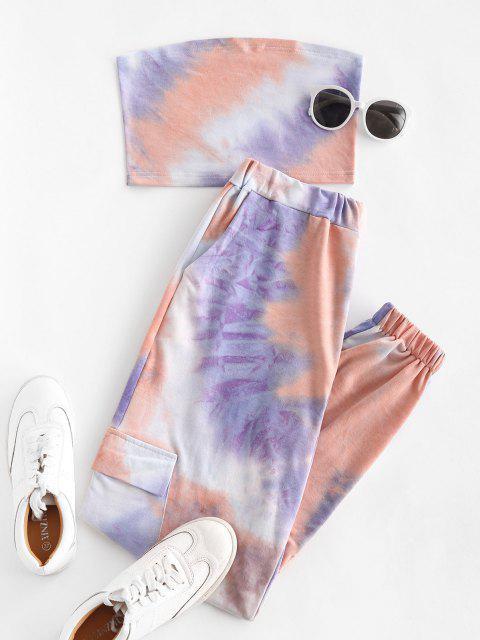 buy Sweat Tie Dye Two Piece Jogger Pants Set - PURPLE L Mobile