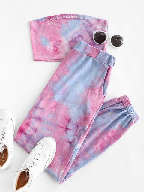 new Sweat Tie Dye Two Piece Jogger Pants Set - LIGHT BLUE L Mobile