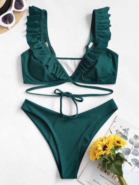 shops ZAFUL Ruffle Ribbed Wrap Bikini Swimsuit - DEEP GREEN S Mobile