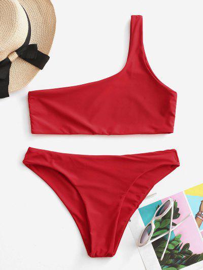 Conjunto De Bikini De Un Hombro - Rojo M