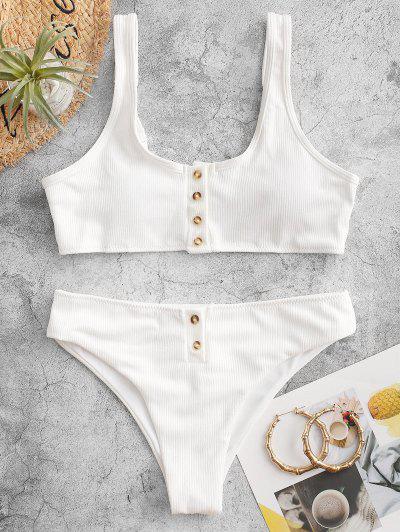 Padded Ribbed Texture Buttons Bikini Set - White L
