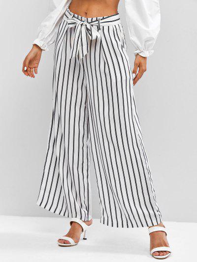 Belted Stripes Wide Leg Pants - White L