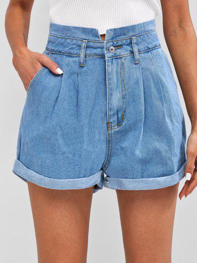 Pleated Cuffed Denim Shorts - Blue S