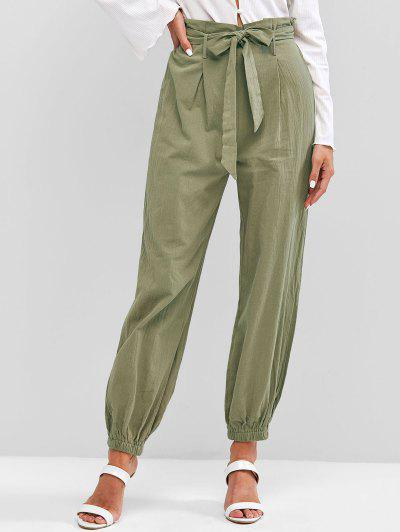 ZAFUL Solid Belted Paperbag Pants - Light Green S