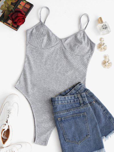 Ribbed High Cut Cami Bodysuit - Gray M