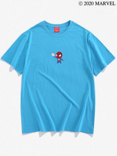 Camiseta Básica Con Estampado De Spider-Man - Azul De Seda M