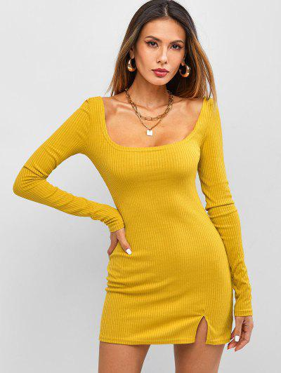 Long Sleeve Ribbed Front Slit Mini Dress - Yellow