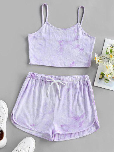 ZAFUL Tie Dye Cami Top And Shorts Set - Light Purple S