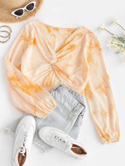 Twist Ribbed Tie Dye Crop Top - Orange M