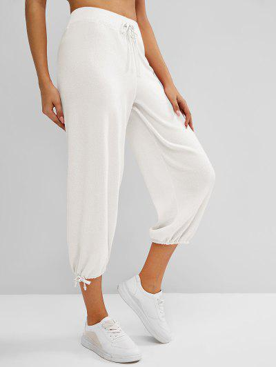 Knitted Drawstring Hem Tie High Rise Pants - White