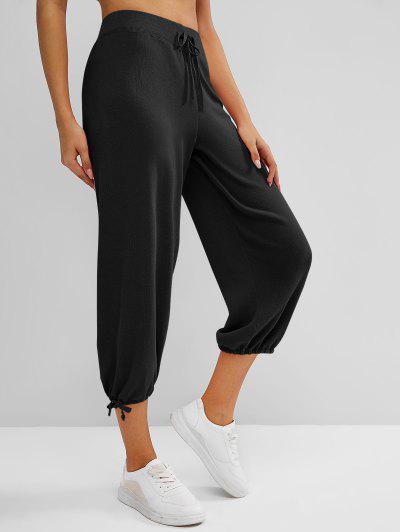 Knitted Drawstring Hem Tie High Rise Pants - Black