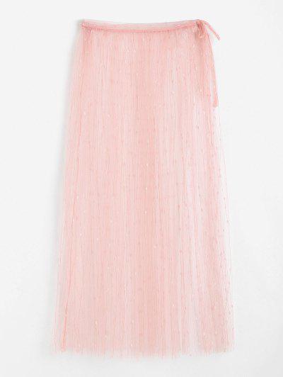 ZAFUL Embroidered Lace Midi Wrap Beach Skirt - Light Pink M