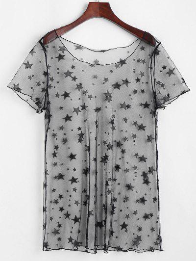 ZAFUL Robe Couverture Tunique Etoile En Dentelle Transparente - Noir M