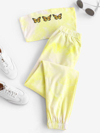 Butterfly Bandeau Top And Jogger Pants Set - Yellow L