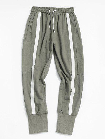 Contrast Stripe Zipper Pocket Jogger Pants - Light Green S