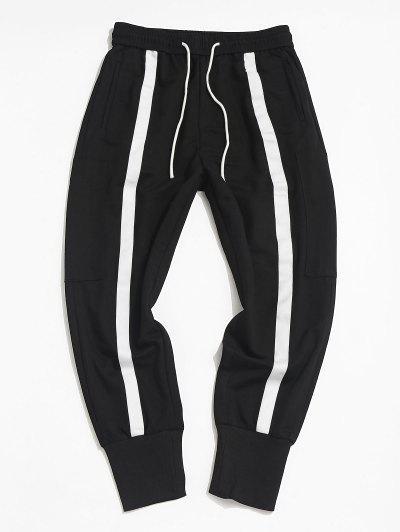 Contrast Stripe Zipper Pocket Jogger Pants - Black Xs