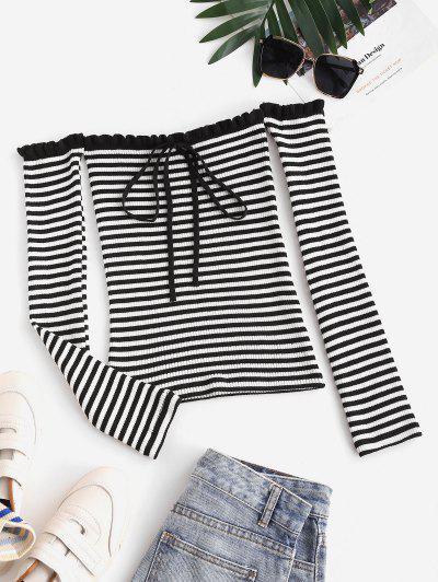 Tie Collar Off Shoulder Stripes Sweater - Black