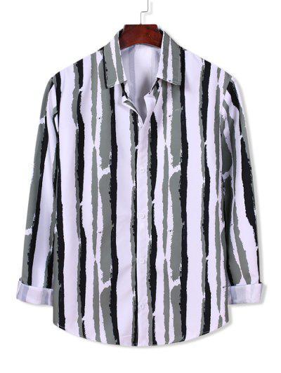 Striped Paint Print Long Sleeve Shirt - White S