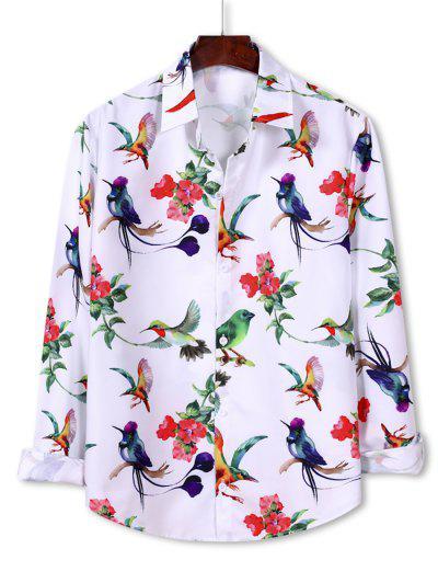 Flower Bird Pattern Button Down Shirt - White 2xl