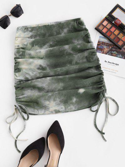 ZAFUL Cinched Side Ribbed Tie Dye Skirt - Light Green M