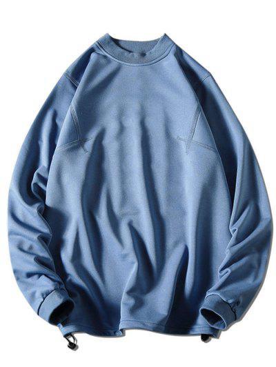 Solid Stitching Mock Neck Sweatshirt - Blue M