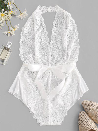 Halter Backless Lace Belted Lingerie Teddy - White L