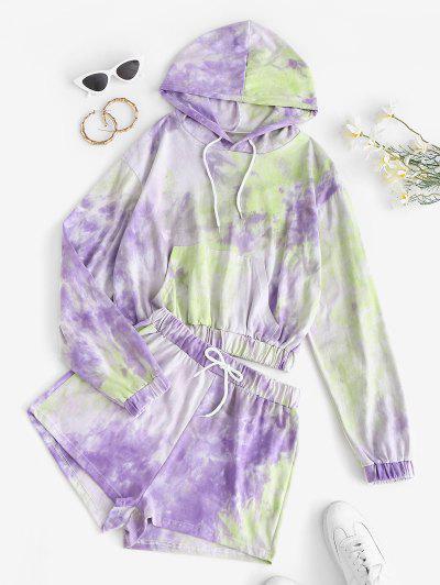 Tie Dye Hoodie And Sweat Shorts Set - Purple M