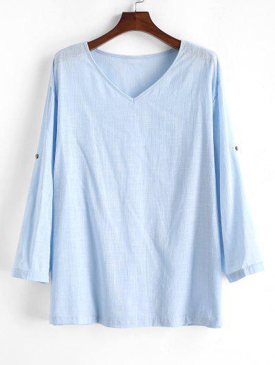 Camisa De Riscas Com Gola Em V E Cor Pura - Azul Claro M