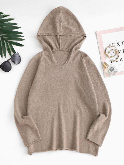 Plain Hooded Raglan Sleeve Sweater - Coffee