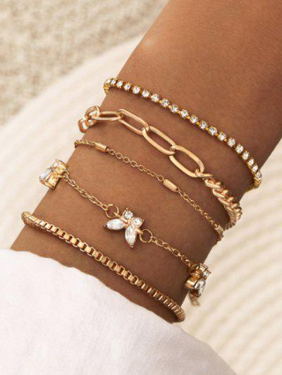 5Pcs Butterfly Chain Bracelet Set - Golden