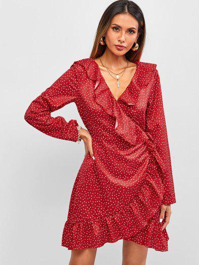 ZAFUL Robe Enveloppée à Volants à Pois - Rouge M