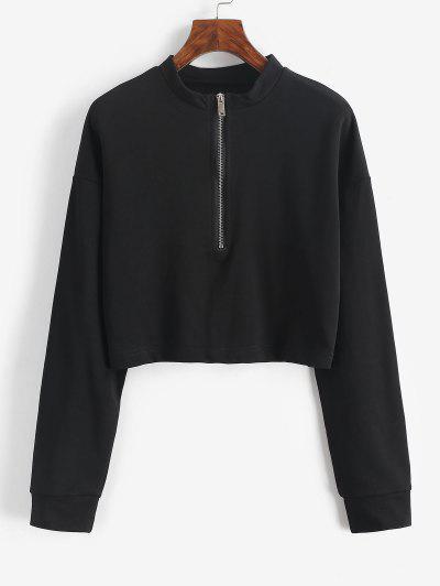 Crop Kapuze Sweatshirt Mit Halb Reißverschluss - Schwarz L