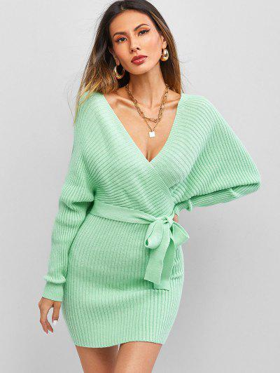 ZAFUL Belt Batwing Sleeve Surplice Sweater Dress - Light Green M
