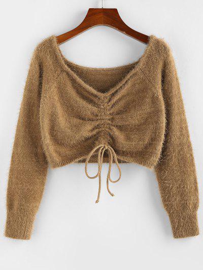 ZAFUL Fuzzy Cinched Raglan Sleeve Sweater - Coffee L