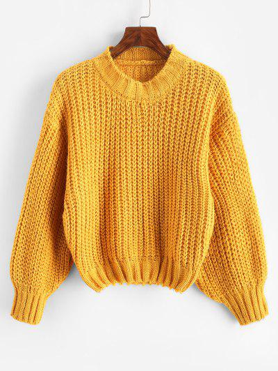 Glitter Mock Neck Chunky Sweater - Yellow