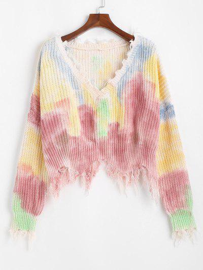 Frayed V Neck Tie Dye Oversized Sweater - Multi