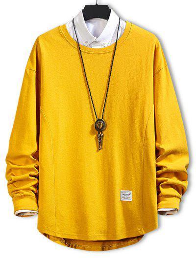 Asymmetric Hem Plain Drop Shoulder Sweatshirt - Bee Yellow Xl