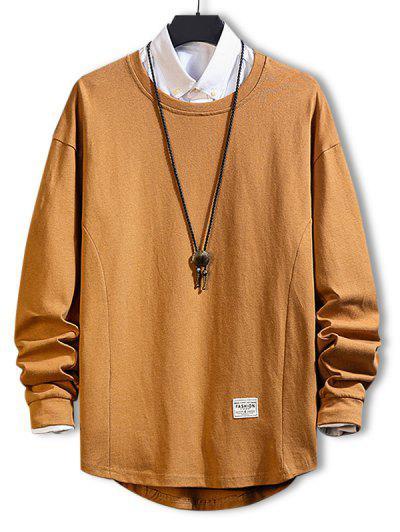 Asymmetric Hem Plain Drop Shoulder Sweatshirt - Khaki M